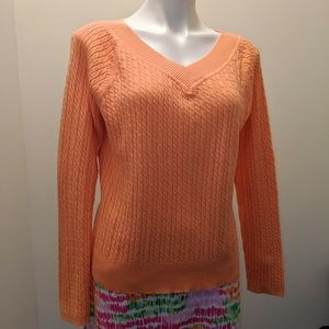Talbots Cotton Cable Knit V Neck Sweater